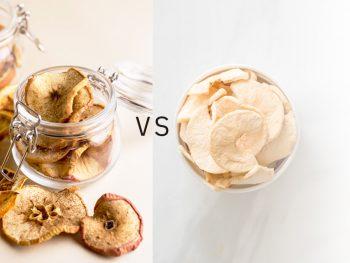 Fruta liofilizada Vs. deshidratada