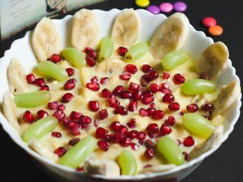 Receta de Fruta: Natillas con fruta y pepitas de granada